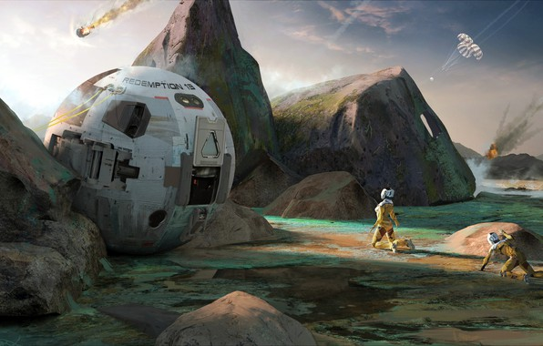 Picture capsule, landing, Adrian Marc, Rough touchdown on planet surface, First Alien Sunset