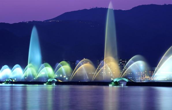 Picture night, lights, Japan, fountain, lake Biwa
