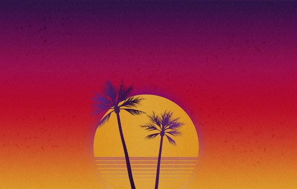 Picture The sun, Music, Style, Palm trees, Background, 80s, Style, Illustration, 80's, Synth, Retrowave, Synthwave, New …