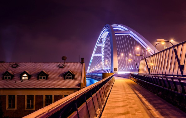 Picture city, lights, bridge, photographer, night, winter, snow, houses, architecture, Slovakia, roof, street light, Julo Kotus, …