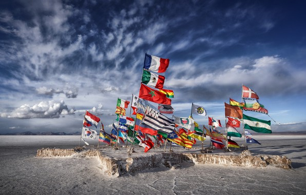 Picture lake, Salar de uyuni, salt, Flags, Bolivia, flat