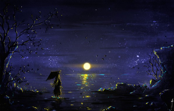 Picture girl, Moon, sky, trees, umbrella, night, art, lake, stars, reflection, digital art, artwork, illustration, painting …
