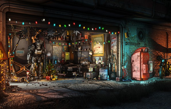 Picture The game, Christmas, New year, Weapons, Decoration, Garage, Holiday, Fallout, Christmas, Art, Tree, Toys, Bethesda, …