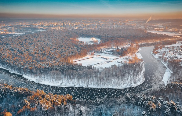 Picture winter, morning, Lithuania, Vilnius, Neris
