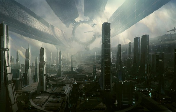 Picture graphics, The city, the city of the future, Hi Tech, Town, Cities, art, Hi-Fi