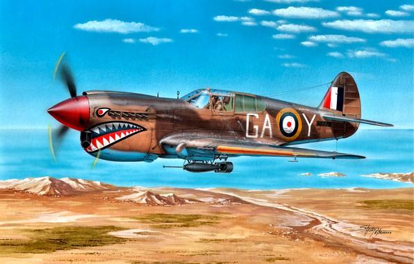 Picture 1942, P-40E, Kittyhawk Mk.IA, Lybia, 112 Sqn, Clive ''Killer'' Caldwell, ''Shark'' Squadron, North Africa