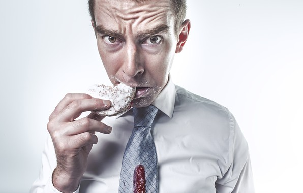 Picture look, pose, hand, cookies, tie, white background, male, shirt, dissatisfaction, eating, jam, powdered sugar, slob, …