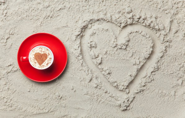 Picture sand, love, heart, love, heart, romantic, sand, coffee cup, a Cup of coffee