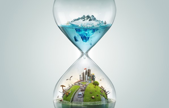 Picture time, travel, rendering, hourglass