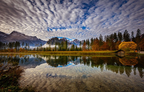 Picture autumn, forest, clouds, mountains, lake, reflection, Austria, Alps, Austria, Alps, Upper Austria, Upper Austria, Lake …