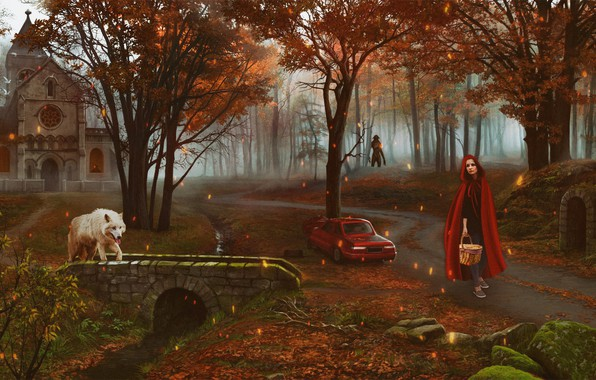 Picture forest, girl, wolf, tale