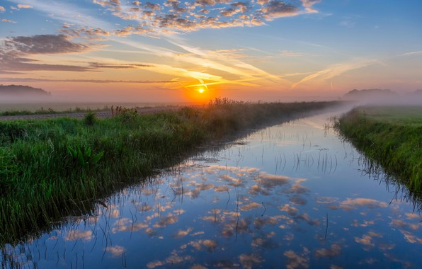 Picture field, sunset, fog, river