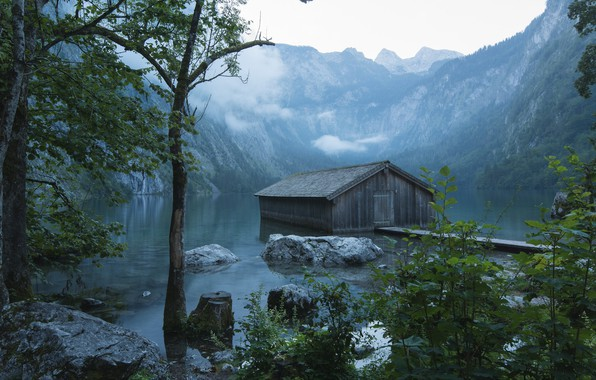 Picture clouds, landscape, mountains, nature, fog, lake, stones, Germany, Bayern, Alps, the barn, Berchtesgaden, Berchtesgaden, Obersee, …