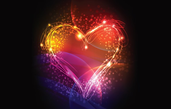 Picture colors, colorful, love, lines, mood, rendering, digital art, black background, Heart, simple background, heart shaped