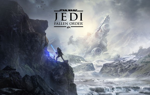 Picture mountains, fighters, lightsaber, spaceship, Star Wars Jedi: Fallen Order