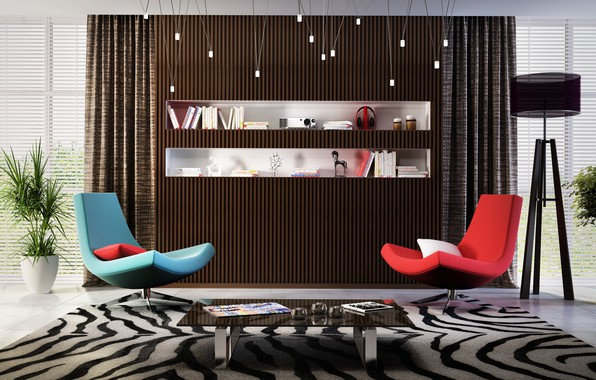 Picture design, carpet, furniture, interior, chairs, table, modern