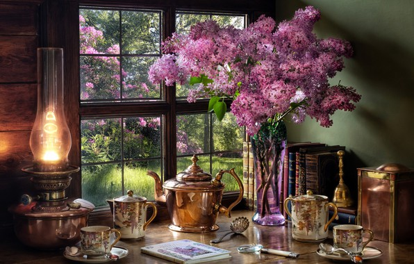 Picture style, books, lamp, kettle, window, Cup, vase, still life, lilac