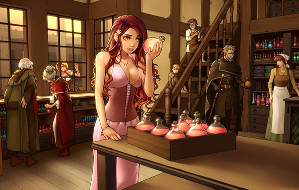 Picture chest, girl, elf, bottle, dress, art, beauty, red, shop, bubble