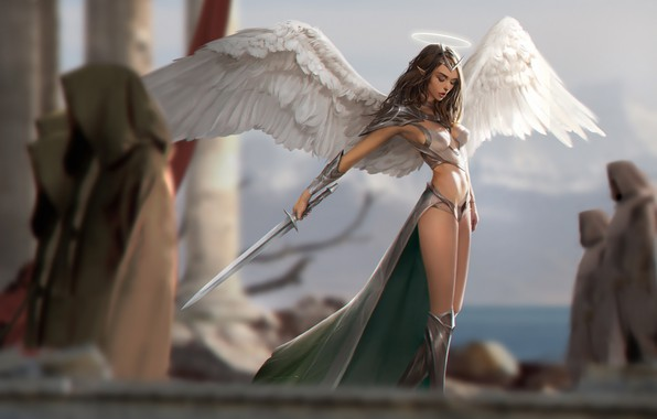 Picture girl, sword, fantasy, armor, weapon, wings, Angel, elf, digital art, artwork, warrior, fantasy art, illustration, …