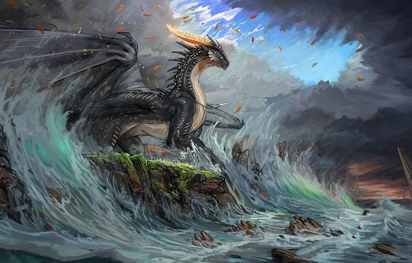 Picture waves, fantasy, horns, sky, sea, coast, wings, blue eyes, clouds, rocks, dragon, digital art, artwork, …