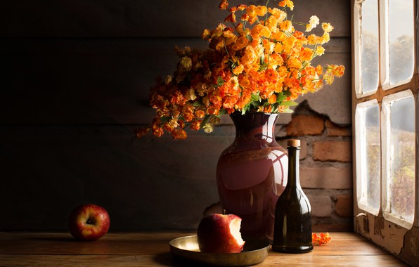 Picture glass, light, flowers, the dark background, table, wall, apples, Board, bottle, bouquet, yellow, window, plate, …