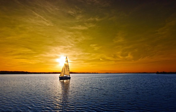 Picture sea, the sky, yacht