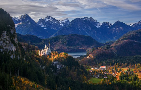Picture mountains, castle, Germany, panorama