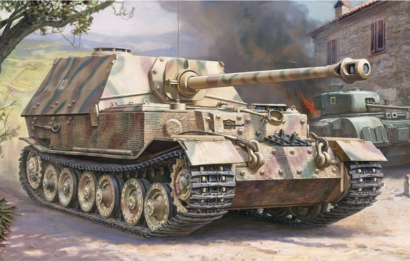 Picture Art, SAU, the Wehrmacht, self-propelled artillery, tank fighter, Elefant