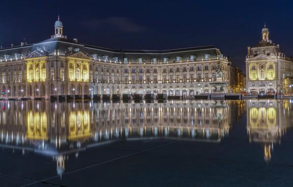 Picture water, reflection, France, building, area, France, Bordeaux, Place de la Bourse, Bordeaux, The stock exchange …