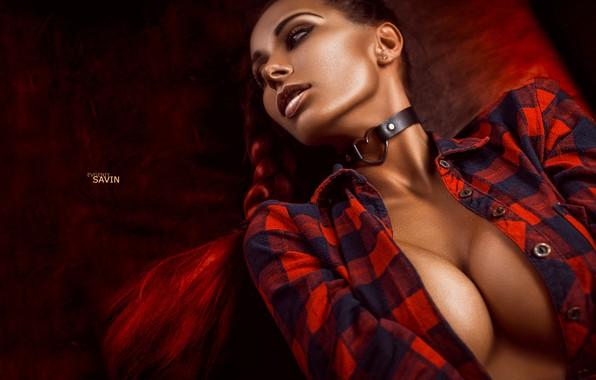 Picture chest, look, pose, sofa, figure, lips, lies, red, sexy, girls, nikon, ekaterinburg, worn9, Evgeniy Savin, …