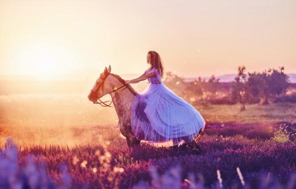 Picture girl, horse, horse, dress, Heather, Kristina Makeeva