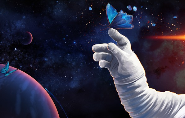 Picture girl, space, butterfly, Prywinko