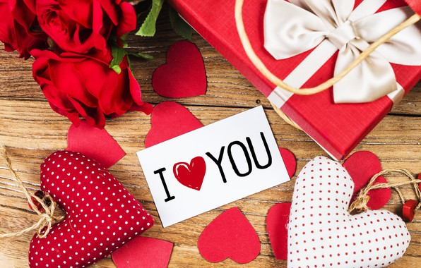 Picture love, flowers, gift, heart, roses, red, love, romantic, hearts, valentine's day, gift, roses, I love …