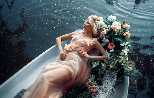 Picture water, girl, flowers, pose, style, boat, dress, Max Kuzin