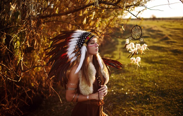 Picture field, girl, decoration, trees, landscape, branches, feathers, outfit, fur, brown hair, amulet, coloring, bokeh, closed …