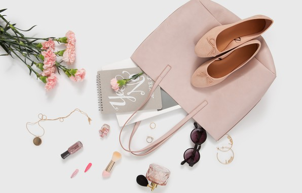 Photo wallpaper flowers, style, perfume, glasses, shoes, decoration, bag, cosmetics