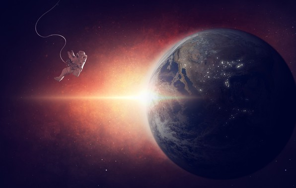 Picture the sun, space, rays, planet, stars, the suit, Earth, orbit, weightlessness, astronaut