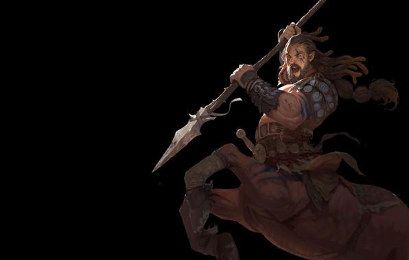 Picture warrior, fantasy, art, centaur, Sagittarius, Wang Jian hi