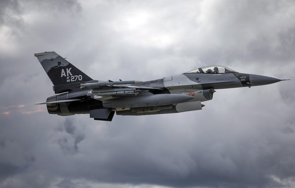 Picture F-16, Fighting Falcon, General Dynamics, the fourth generation fighter, American multifunctional lightweight