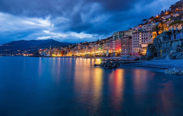 Picture sea, coast, building, home, Italy, night city, Italy, The Ligurian sea, Camogli, Liguria, Liguria, Camogli, …