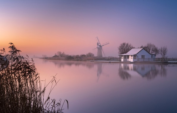 Picture fog, house, river, dawn, England, morning, mill, reed, England, Norfolk, Norfolk, River Tern, River Thurne