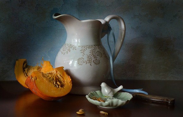 Picture plate, knife, dishes, pumpkin, pitcher, still life, seeds, the milkman