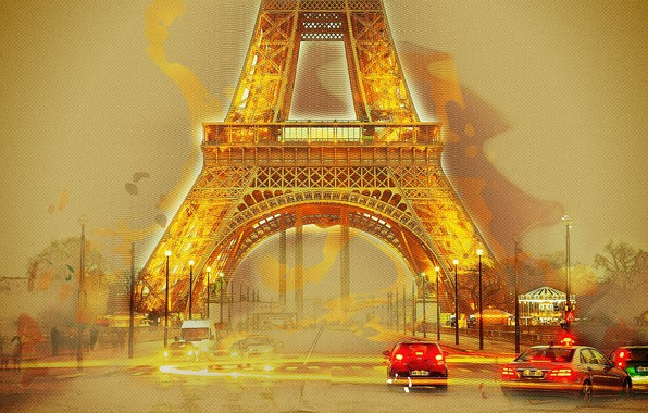 Picture Eiffel tower, photoshop, Paris, picture