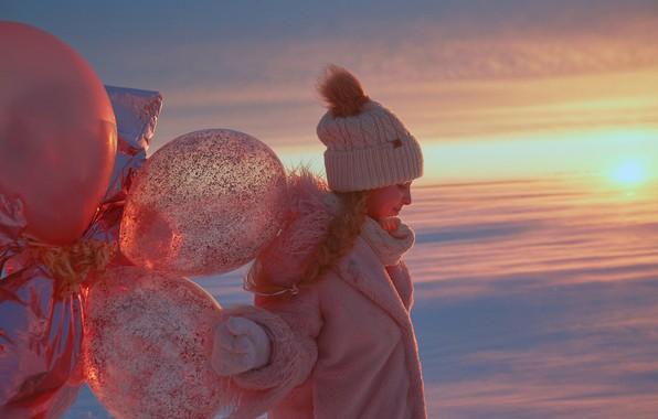 Picture winter, balloons, hat, girl, coat, Alexander Grankin