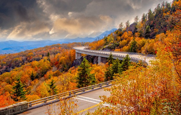 Picture road, autumn, landscape, mountains, clouds, bridge, nature, USA, forest, viaduct, Perry Hoag