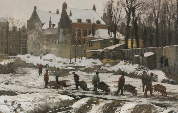Picture Georg Hendrik Breitner, 1902, Dutch painter, Dutch artist, Construction Site in Amsterdam, George Hendrik Breitner, …