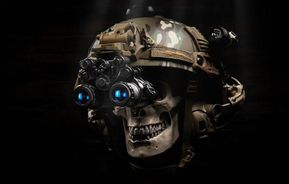 Picture style, background, skull, headphones, helmet, camouflage, helmet
