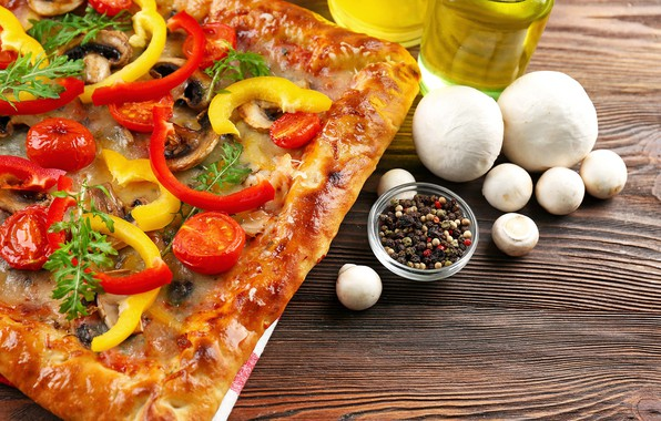 Picture mushrooms, cheese, pepper, vegetables, pizza, tomatoes, spices, mozzarella