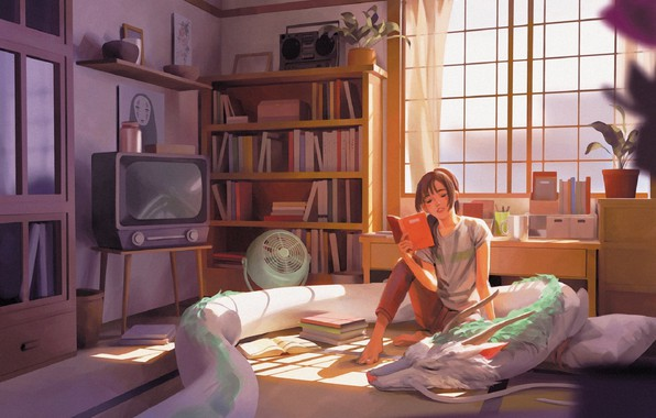 Picture dragon, books, fan, TV, window, girl, on the bed, items, in the room, reading, Hayao …