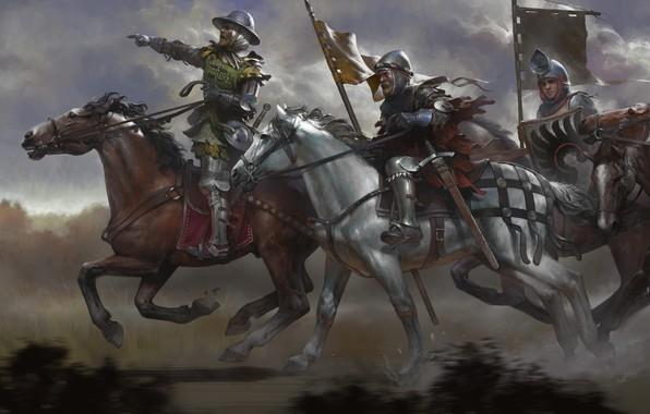 Picture sword, fantasy, armor, horse, digital art, artwork, warrior, fantasy art, Knight, medieval, pearls, banner, riding